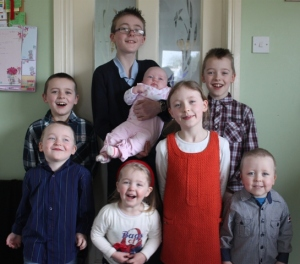 All of the children together.