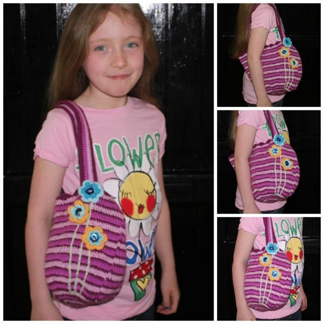 Caoimhe modelling her bag.