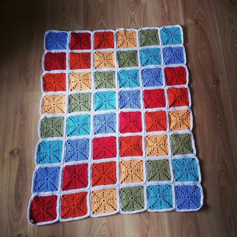 Rainbow Squares Blanket Rainbow Trio #1