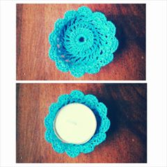 Crochet thread tealight holders