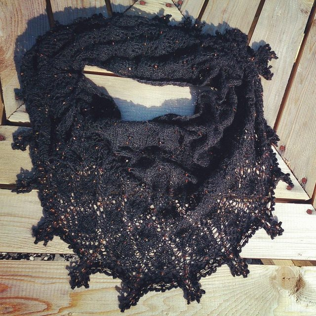 Drops of Firelight Shawl