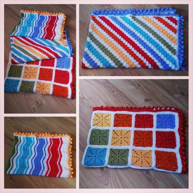Trio of Rainbow Blankets - Rainbow Squares, Rainbow Corners, Rainbow Chevrons.