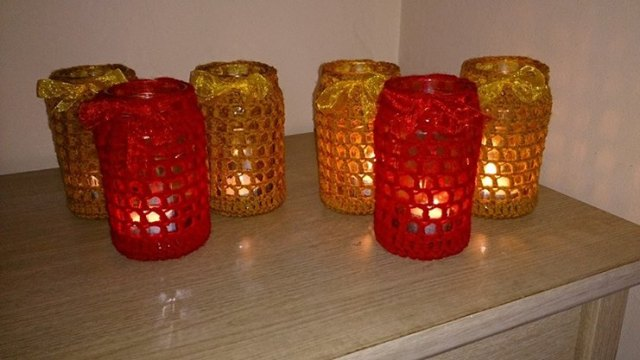 Red and gold jar tealight covers