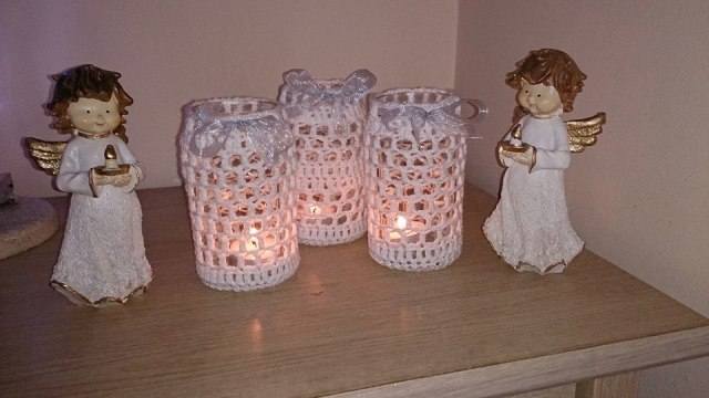 White jar tealight covers